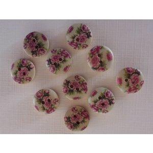 Embellishments / Verzierungen 10 boutons en bois avec motif rose