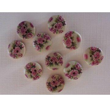 Embellishments / Verzierungen 10 wood buttons with rose motif