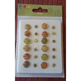 Embellishments / Verzierungen Epoxy Brads, 12 large and 12 smaller ones