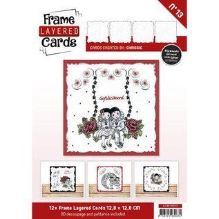 BASTELSETS / CRAFT KITS 12 witte Frame Layered Cards + 3D plaatjes