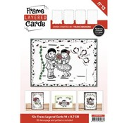 BASTELSETS / CRAFT KITS 12 White Frame Layered Cards A6 + 3D Plates