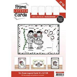 BASTELSETS / CRAFT KITS 12 witte Frame Layered Cards A6 + 3D plaatjes