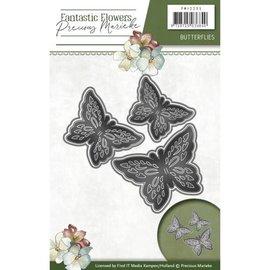 Precious Marieke Punzonado y estampado en relieve de la plantilla: 3 mariposas