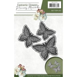 Precious Marieke Stamping- and pre-template: 3 butterflies