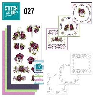 "BASTELSETS / CRAFT KITS para bordar conjunto de tarjeta ""flor"""