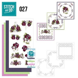 "BASTELSETS / CRAFT KITS te borduren Card Set ""Flower"""