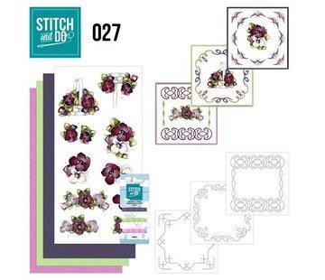 """BASTELSETS / CRAFT KITS Card set """"flowers"""" embroidered"""
