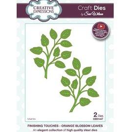 CREATIVE EXPRESSIONS und COUTURE CREATIONS Skæring dør: en grene med blade og en i spejlet