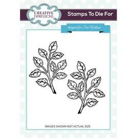 CREATIVE EXPRESSIONS und COUTURE CREATIONS Gummi Stempel, 1 Zweige mit Blätter und 1 im Spiegelbild