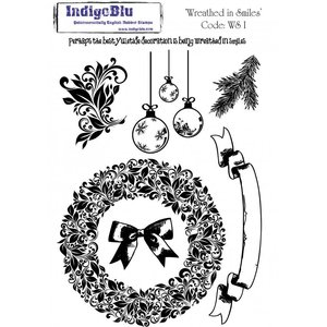 IndigoBlu A5 Rubber Stamp: Wreathed In Smiles