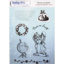 IndigoBlu sello de goma A5: Paz en la tierra