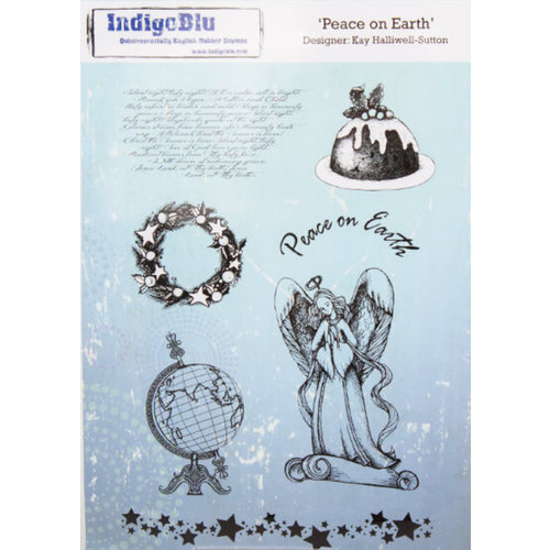 IndigoBlu A5 rubber stamp: Peace On Earth