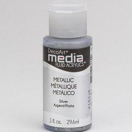 DecoArt acrílicos fluidos medios de comunicación, plata metálica