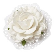 BLUMEN (MINI) UND ACCESOIRES Roses in Linen optic 6cm - 2 pieces