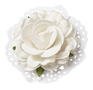BLUMEN (MINI) UND ACCESOIRES Roses dans l'optique de lin 6cm - 2 pièces