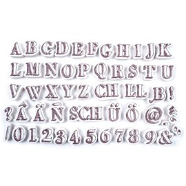 ALADINE Aladine, 54 frimerker, bokstaver og tall + svart mini blekkpute!