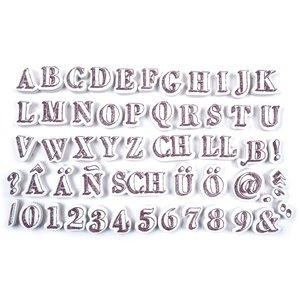 ALADINE Aladine, 54 timbres, lettres et chiffres + mini-pad d'encre noire!