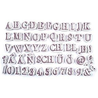 ALADINE Aladine, 54 Stempel, Buchstaben und Zahlen + schwarzes mini Stempelkissen!