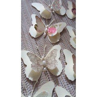 Embellishments / Verzierungen 9 Stuk 3D vlinders met parels