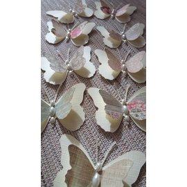 Embellishments / Verzierungen 9 farfalle piece 3D con perle