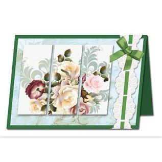 BASTELSETS / CRAFT KITS Bastelset: Triptychonkarten (dreifach gefaltete Karten) mit Blumen