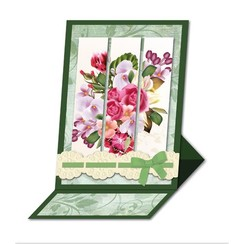Bastelset: Triptychonkarten (tarjeta tríptico) con flores