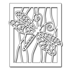 Penny Black Stamping template: Dragonfly in frame
