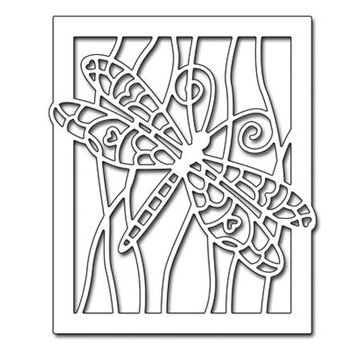 Penny Black Ponsen sjabloon: Dragonfly in het kader