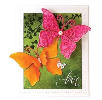 Penny Black Modèle de poinçonnage: papillon avec des coeurs