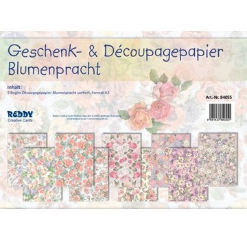 REDDY New: 9 sheets of flowers, size A3