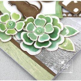 Joy!Crafts / Jeanine´s Art, Hobby Solutions Dies /  Troquelado y estampado de plantilla: flores con hojas