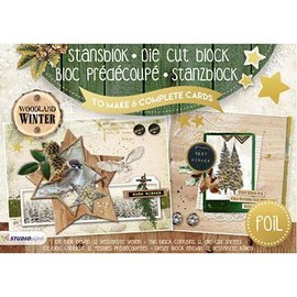 Studio Light Punch blok A5: Woodland Vinter med folie nr.07