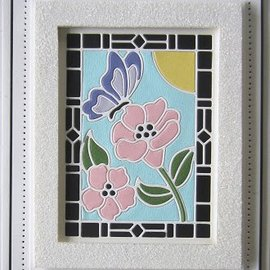 CREATIVE EXPRESSIONS und COUTURE CREATIONS Stansning skabelon: Stained Glass Collection -Schmetterling med blomster