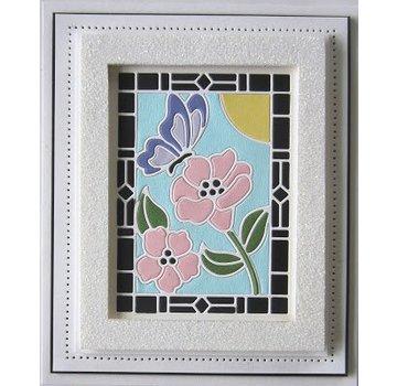 CREATIVE EXPRESSIONS und COUTURE CREATIONS modello di punzonatura: Stained Glass Collection -Schmetterling con fiori