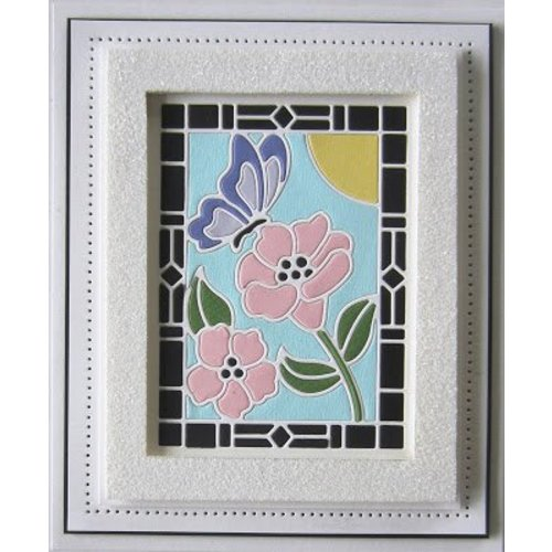 CREATIVE EXPRESSIONS und COUTURE CREATIONS Ponsen sjabloon: Stained Glass Collection -Schmetterling met bloemen