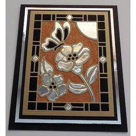 CREATIVE EXPRESSIONS und COUTURE CREATIONS Stanzschablone: Stained Glas Collection -Schmetterling mit Blumen - LETZTE Schablone!