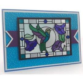 CREATIVE EXPRESSIONS und COUTURE CREATIONS plantilla de perforación: Colección de vidrio manchado, Hummingbird