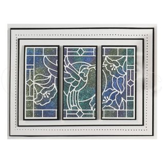 CREATIVE EXPRESSIONS und COUTURE CREATIONS Ponsen sjabloon: Stained Glass Collection, Hummingbird