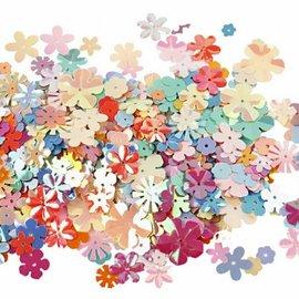 BASTELZUBEHÖR, WERKZEUG UND AUFBEWAHRUNG 50 lentejuelas de flores, D: 5-20 mm
