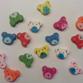 Holz, MDF, Pappe, Objekten zum Dekorieren 16 perles de bois avec des motifs d'ours mignon