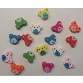 Holz, MDF, Pappe, Objekten zum Dekorieren 16 wood beads with cute bear motifs