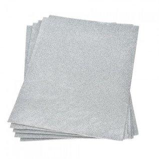 Moosgummi und Zubehör Schiuma foglio di gomma glitter, 200 x 300 x 2 mm, argento