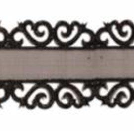 DEKOBAND / RIBBONS / RUBANS ... Organzaband mit Ornamentkante Spitze in schwarz