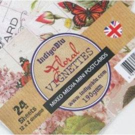 Karten und Scrapbooking Papier, Papier blöcke IndigoBlu Blomster Vignetter, mini Postkort mixed media Papers