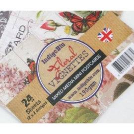 Karten und Scrapbooking Papier, Papier blöcke IndigoBlu floraux, mini cartes postales Vignettes Papiers techniques mixtes