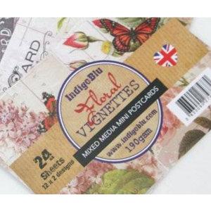 Karten und Scrapbooking Papier, Papier blöcke IndigoBlu Floral Vignettes, Mini Postcards Mixed Media Papers