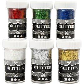 BASTELZUBEHÖR, WERKZEUG UND AUFBEWAHRUNG fibre glitter assortimento, colori metallici, 6x20g