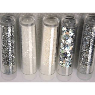 BASTELZUBEHÖR, WERKZEUG UND AUFBEWAHRUNG Glitter & tinsel set with 5 vials -