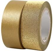 BASTELZUBEHÖR, WERKZEUG UND AUFBEWAHRUNG nastro motivo, W: 15 mm, oro, 2 ruolo