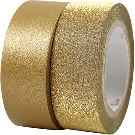 BASTELZUBEHÖR, WERKZEUG UND AUFBEWAHRUNG Motiv bånd, B: 15 mm, gull, 2 rolle